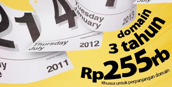 Perpanjangan Domain 3 Tahun Cuma Rp 255.000